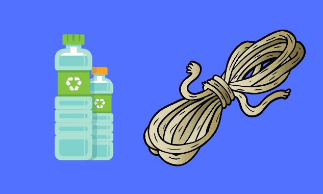 Бутылки и верёвка для очистки крыши от снега