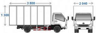 Габариты фургона BAW Fenix 33462 (на 10, 12 или 16 м3, грузоподъёмностью 3,5 тонны) для вывоза мусора