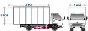 Габариты фургона BAW Fenix 33462 (на 16 кубов, грузоподъёмностью 3,5 тонны) для вывоза мусора