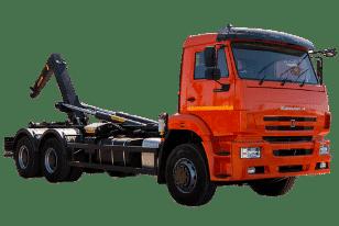 Крюковой погрузчик (мультилифт) КАМАЗ — пухтовоз для перевозки мусорных контейнеров (пухто)